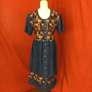 VINTAGE 80s Denim Patchwork Maxi Dress